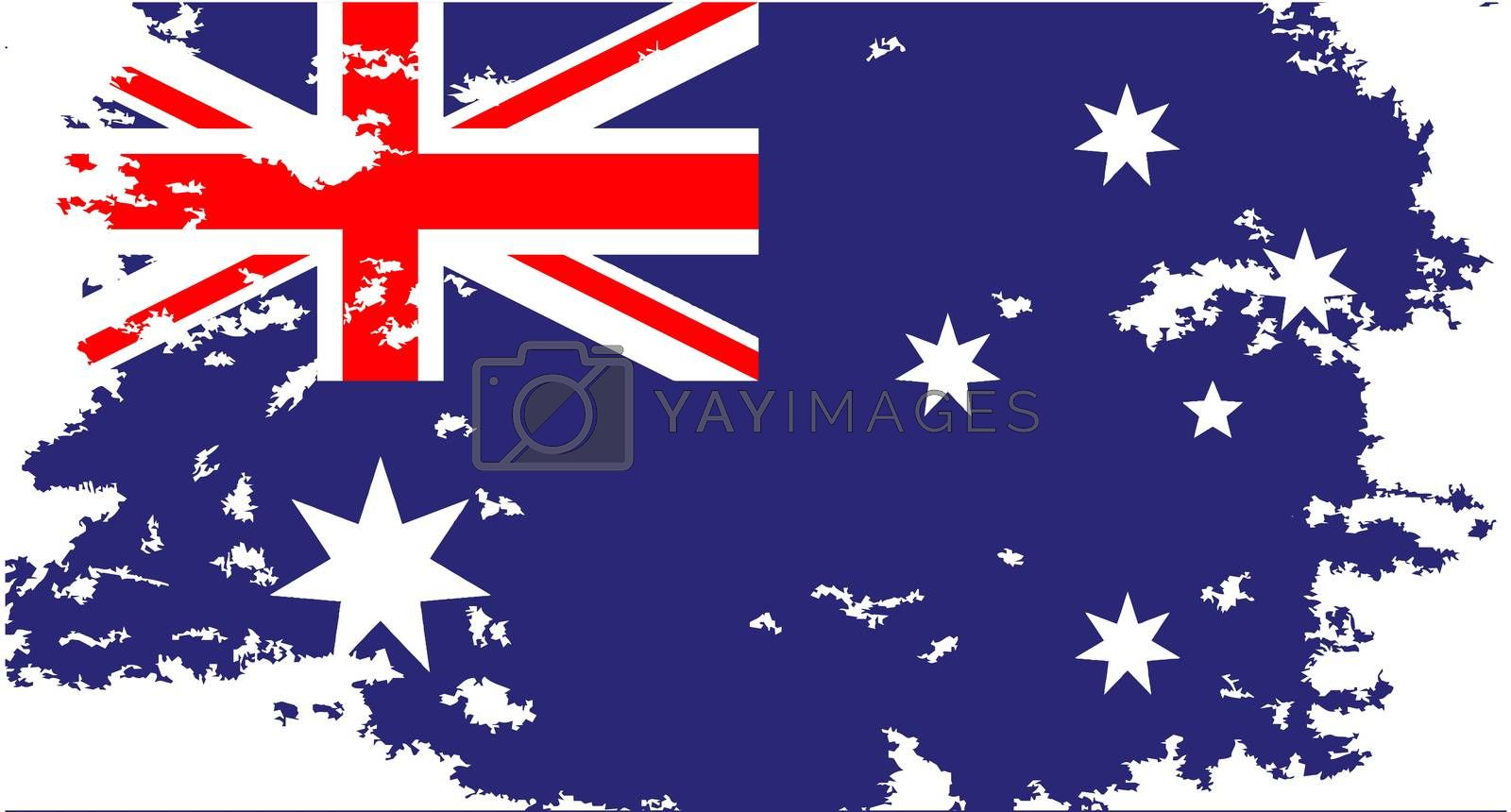 The flag of Australia red white and blue with grunge effect
