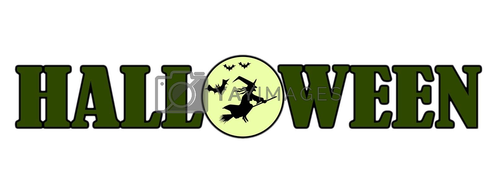A witch and her bats flying across the full moon with the text HALLOWEEN using the moon as the middle letter