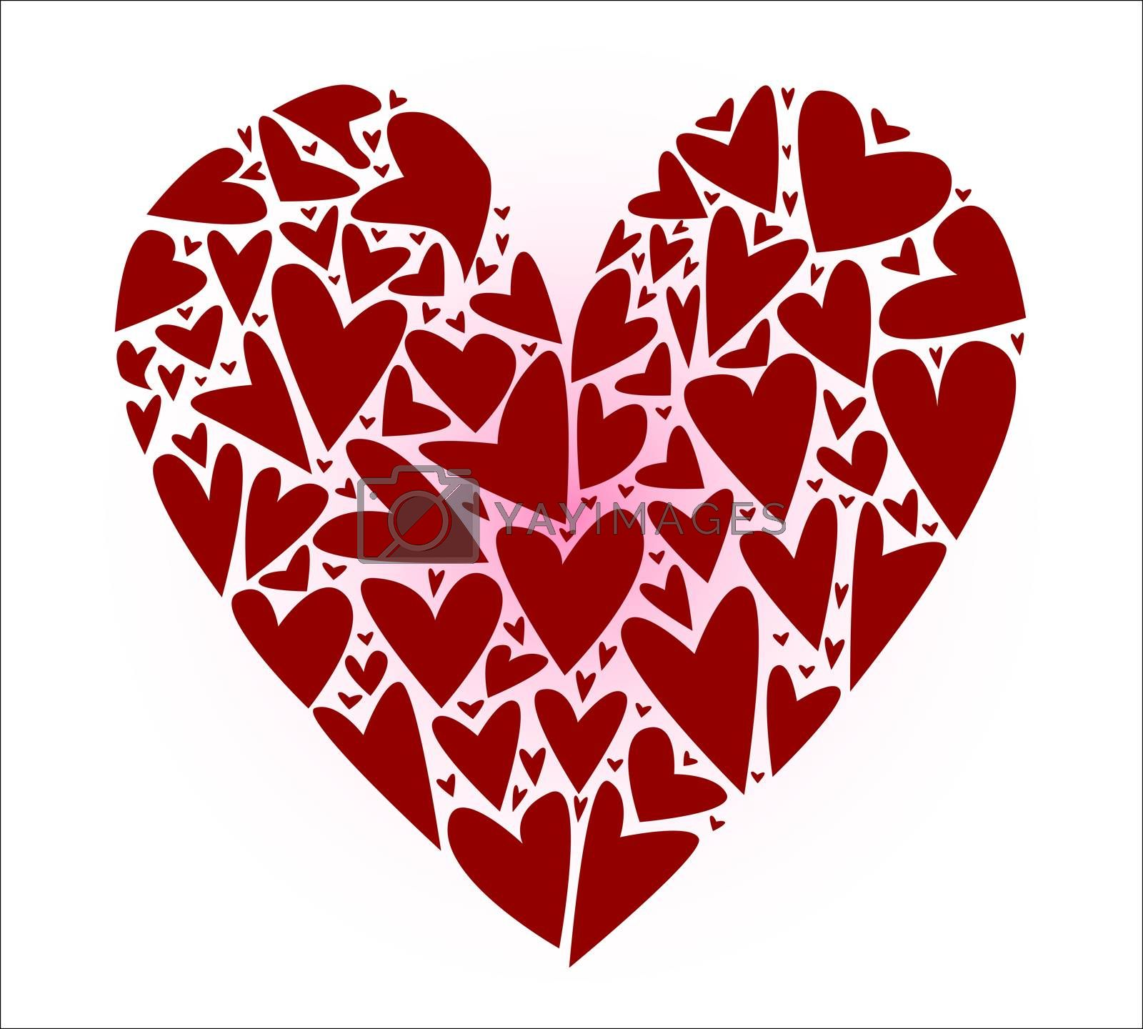 A large heart made up of several smaller hearts against a white background.