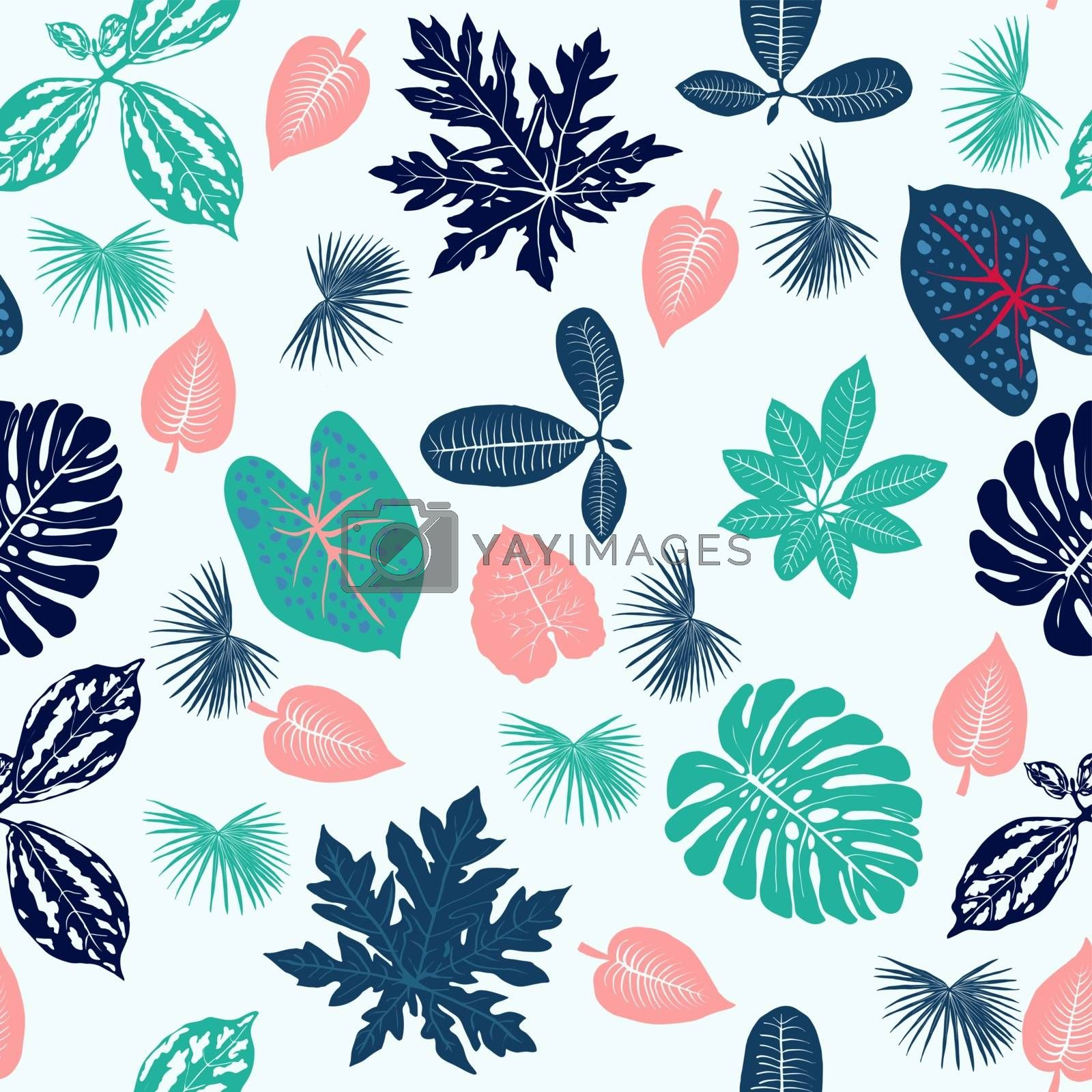 Vector Tropical plants leaves seamless pattern on white background.