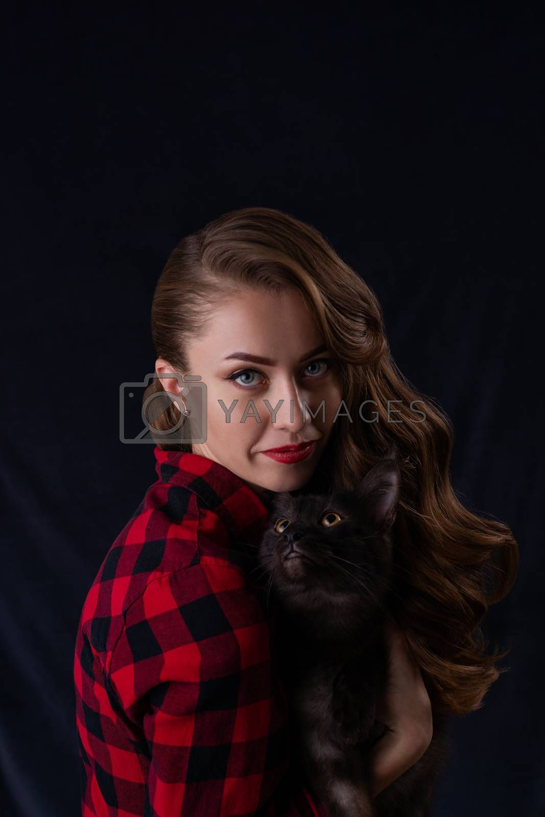 Fashion photo of pretty girl with black maine coon cat on hands. Maine coon cat with beautiful woman on gray background.
