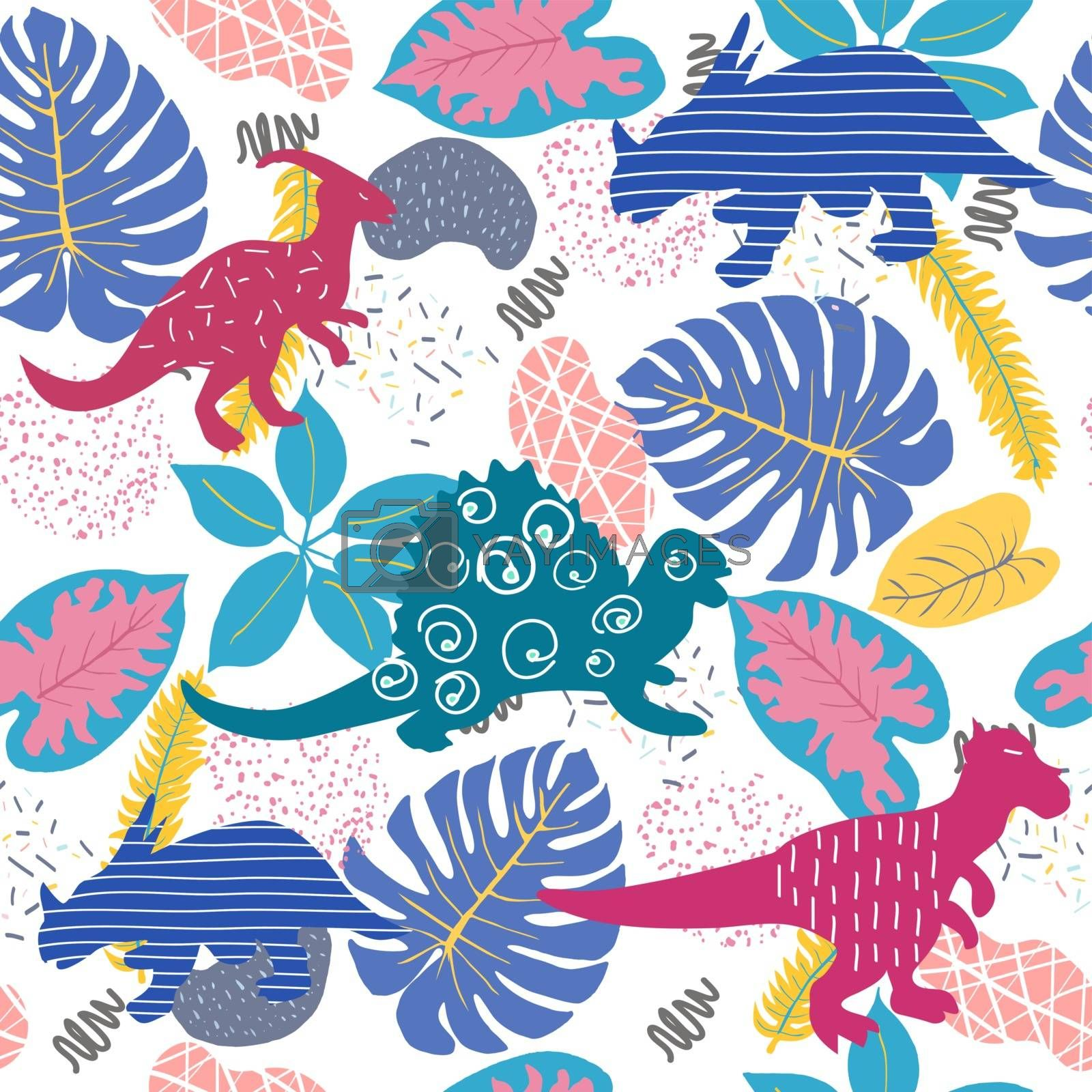 Vector Hand drawn Cute abstract seamless pattern with dinosaurs and Tropical plants. Perfect for kids fabric, textile, nursery wallpaper.