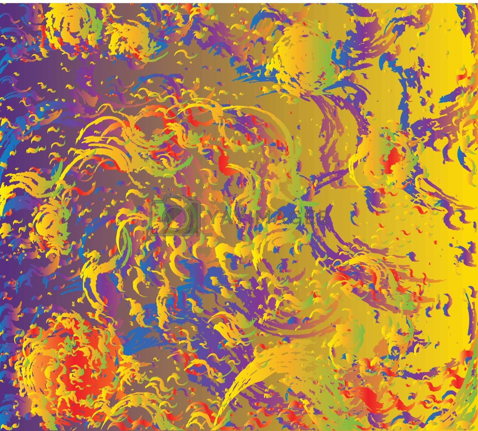 Petrol Rainbow Abstract Twirl Background by Bigalbaloo