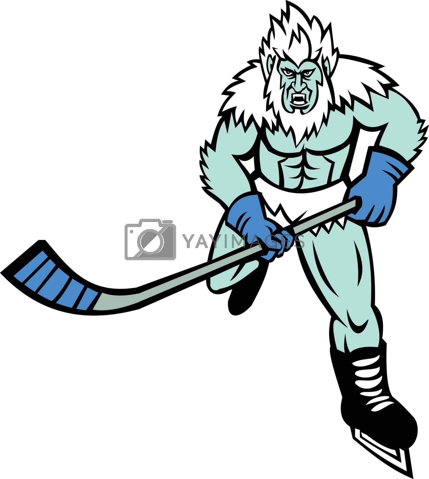Mascot icon illustration of an angry Yeti or Abominable Snowman, a folkloric ape-like creature, with hockey stick playing ice hockey viewed from front on isolated background in retro style.