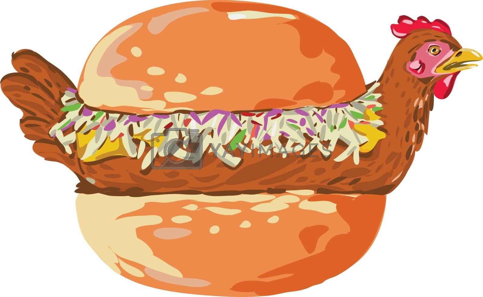 Retro style illustration of a bird or chicken in bun, bread, burger or sandwich with filling on isolated background.