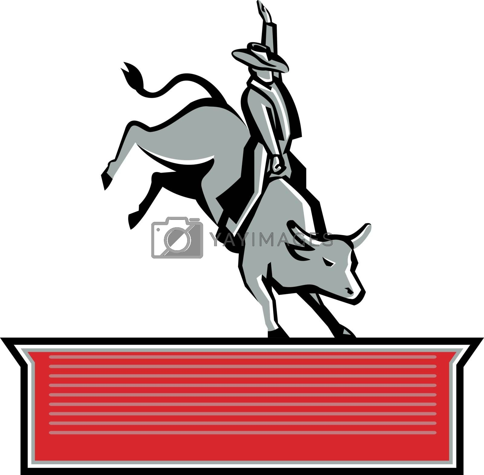 Retro style illustration of rodeo cowboy bull rider riding a bull with text banner at bottom on isolated background.