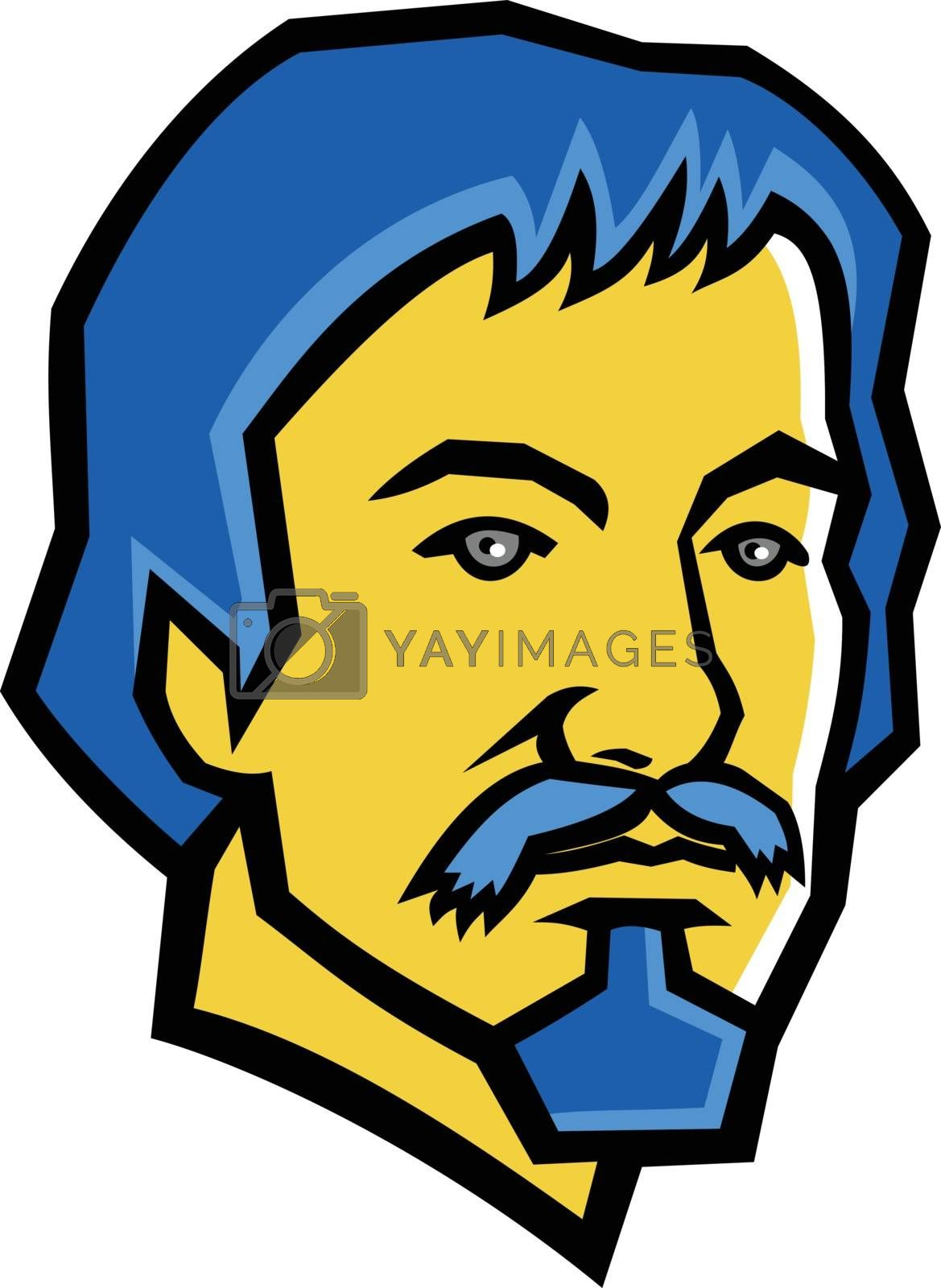 Mascot icon illustration of head of Michelangelo Merisi da Caravaggio, an Italian painter from the early 1590s to 1610 viewed from front on isolated background in retro style.