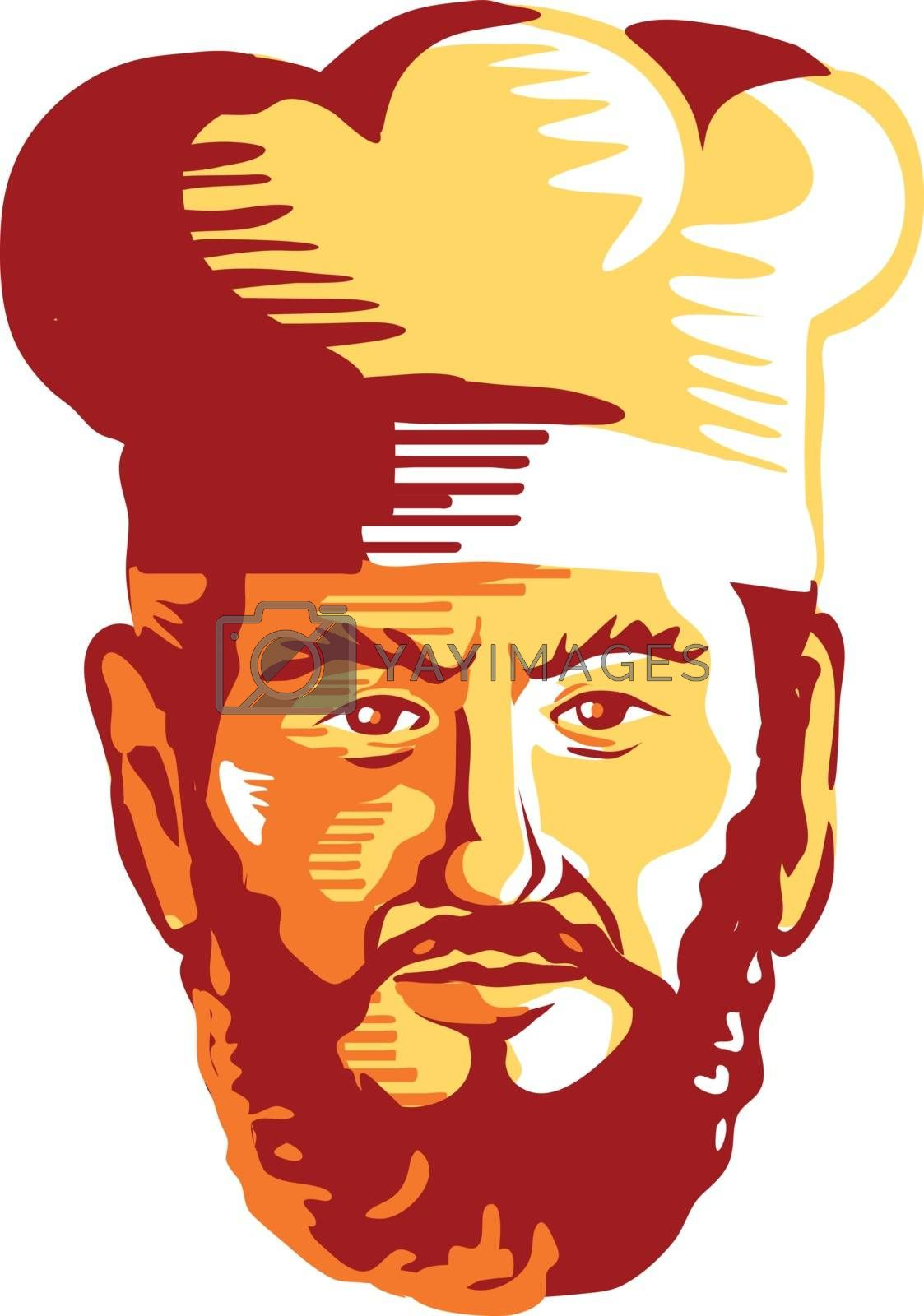Retro style illustration of had of a hipster cook, chef or baker with beard or facial hair viewed from front on isolated background.