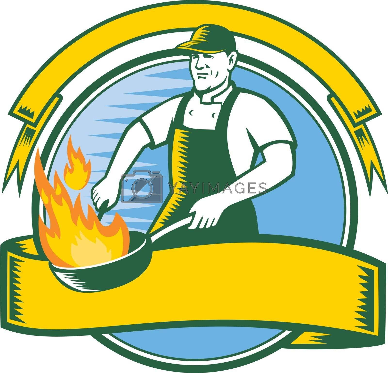 Mascot icon illustration of a cook or chef cooking with flaming pan or wok set inside circle with ribbon and banner viewed from front in retro style on isolated background in retro style.