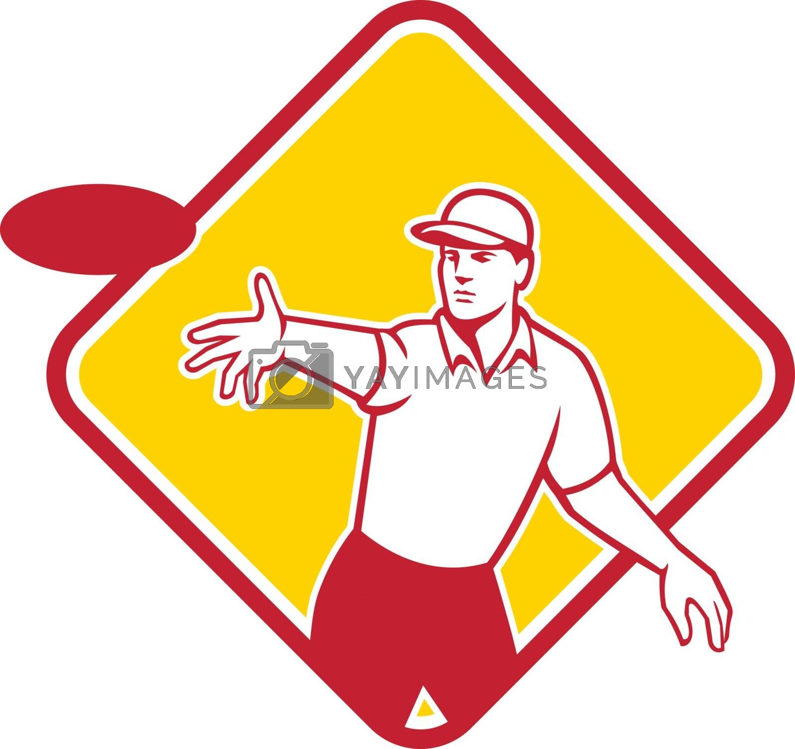 Mascot icon illustration  of an disc golf player throwing a flatball or frisbee set inside diamond shape viewed from front on isolated background in retro style.