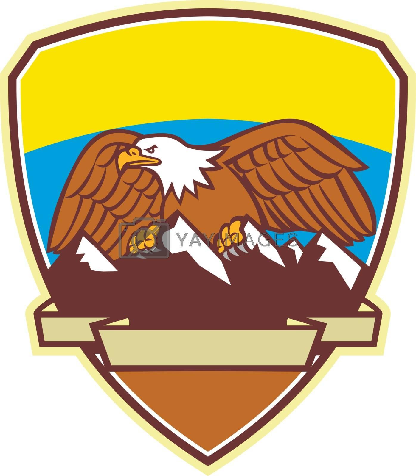 Royalty free image of Eagle Perching Mountain Range Crest Mascot by patrimonio