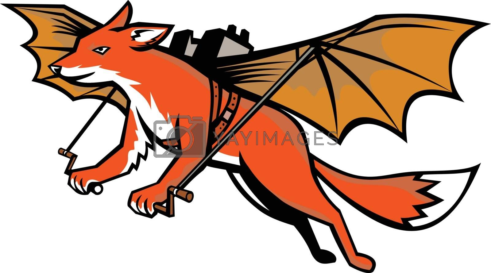 Mascot icon illustration of a flying fox strapped with mechanical wings in full flight  viewed from side  on isolated background in retro style.