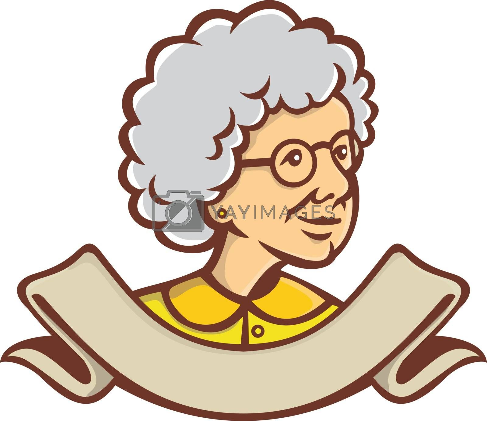 Retro style illustration of bust of a grandmother, granny, nanny or a senior adult female woman looking to side with ribbon at bottom on isolated background.