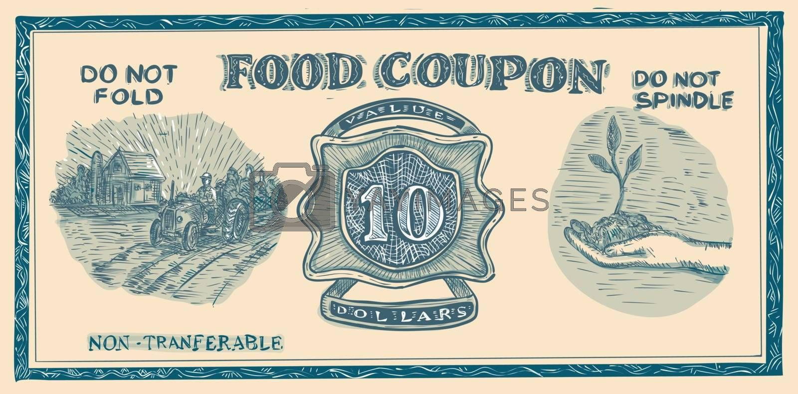 Drawing sketch style illustration of a vintage American food coupon or Food stuff ration on isolated white background.