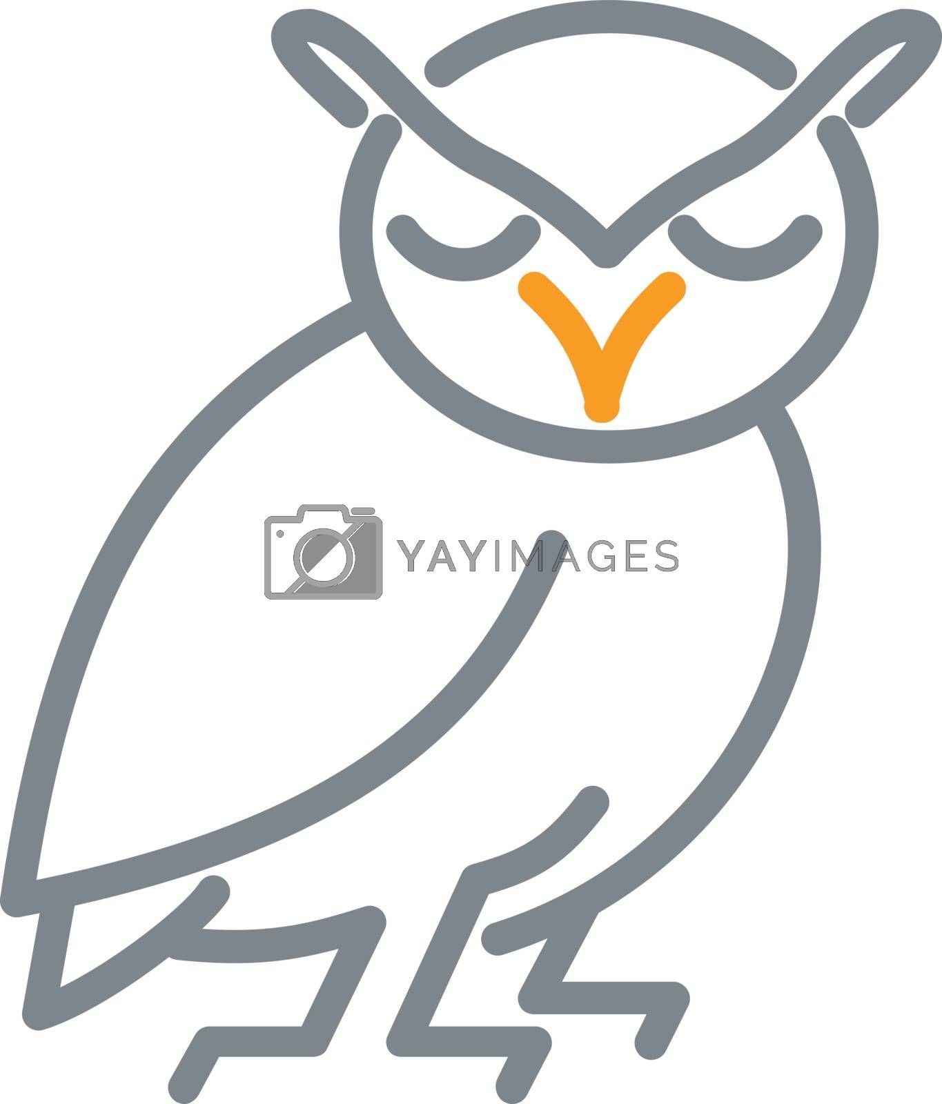 Great Horned Owl Mono Line by patrimonio