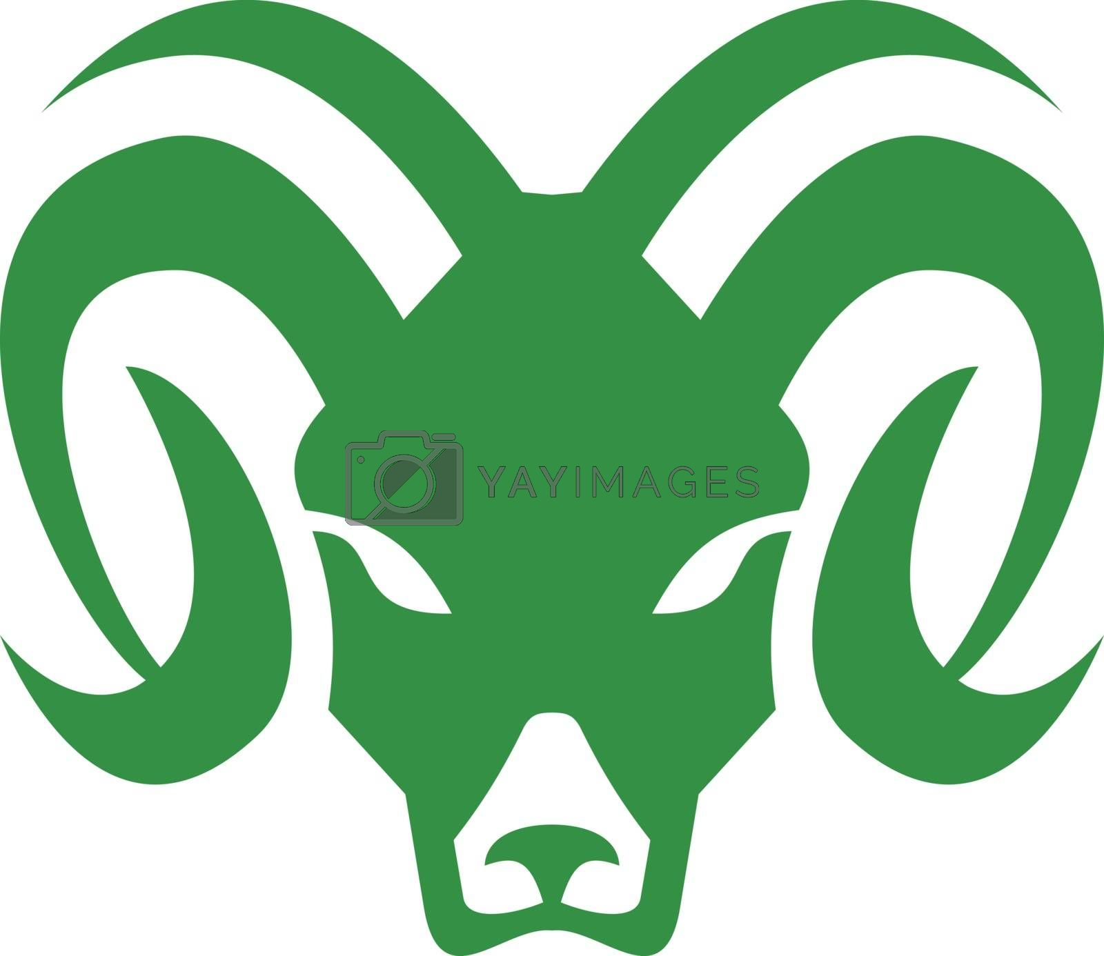 Bighorn Sheep Ram Head Front Icon by patrimonio