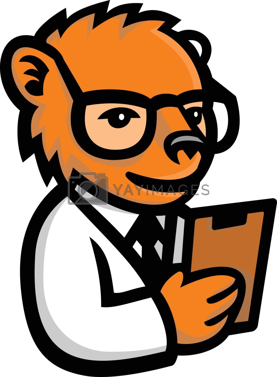 Mascot icon illustration of a nerdy bear scientist wearing lab coat and holding clipboard viewed from   on isolated background in retro style.