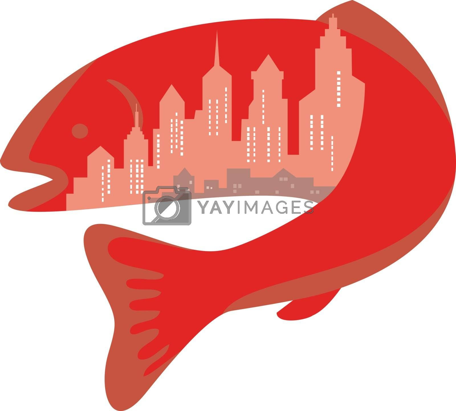Icon retro style illustration of trout or salmon fish with urban or city skyline buildings inside on isolated background.
