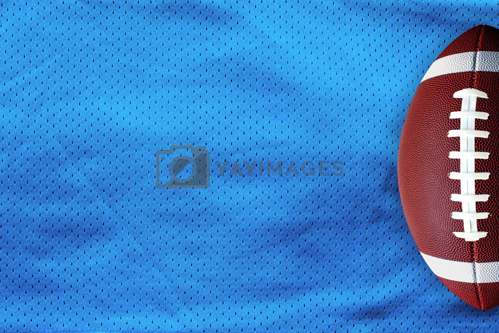 Sky Blue American Football Jersey textured with a football on a horizontal view