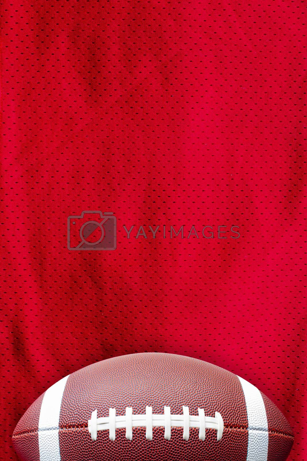 American Football Jersey textured with a football on a vertical view