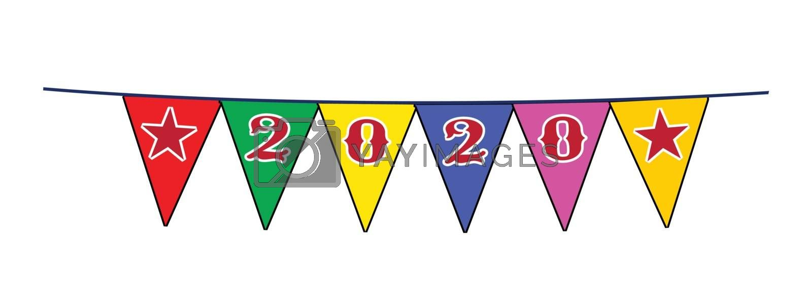 The text 2020s as a line of bunting on a white background