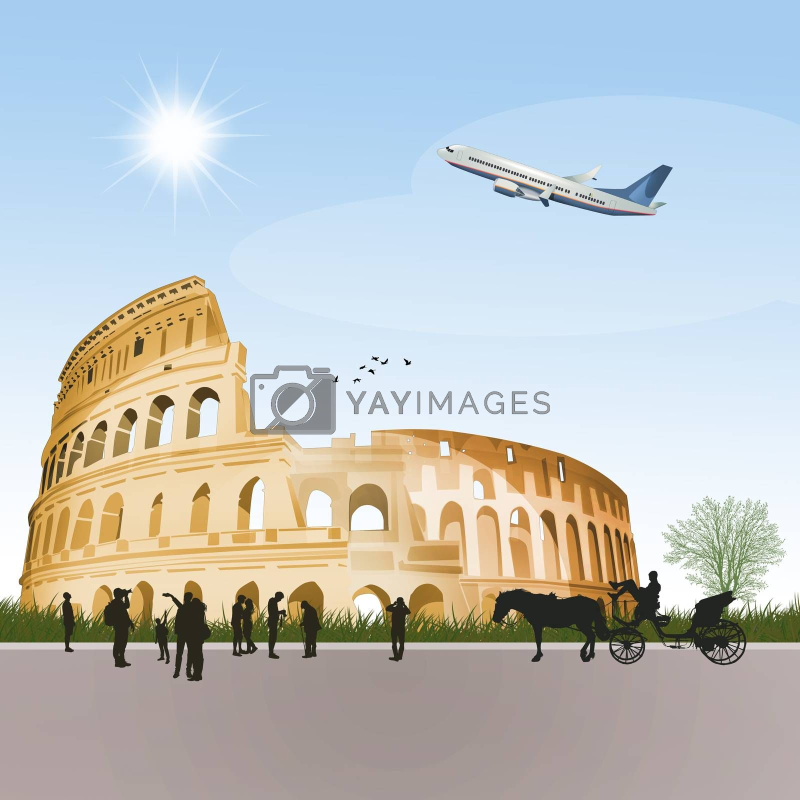 illustration of travel to the visit the colosseum