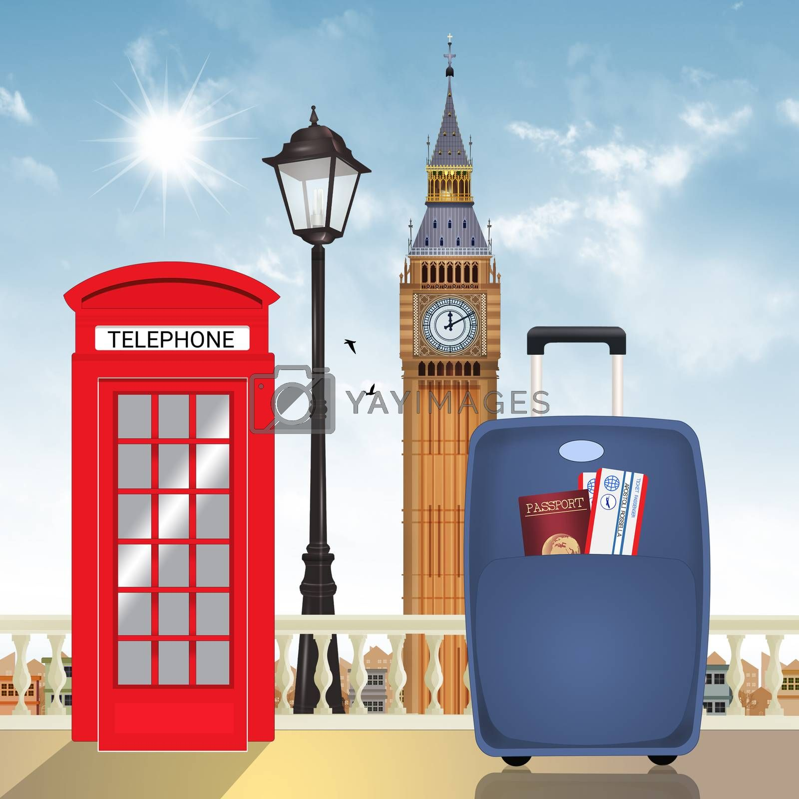 illustration of travel to London