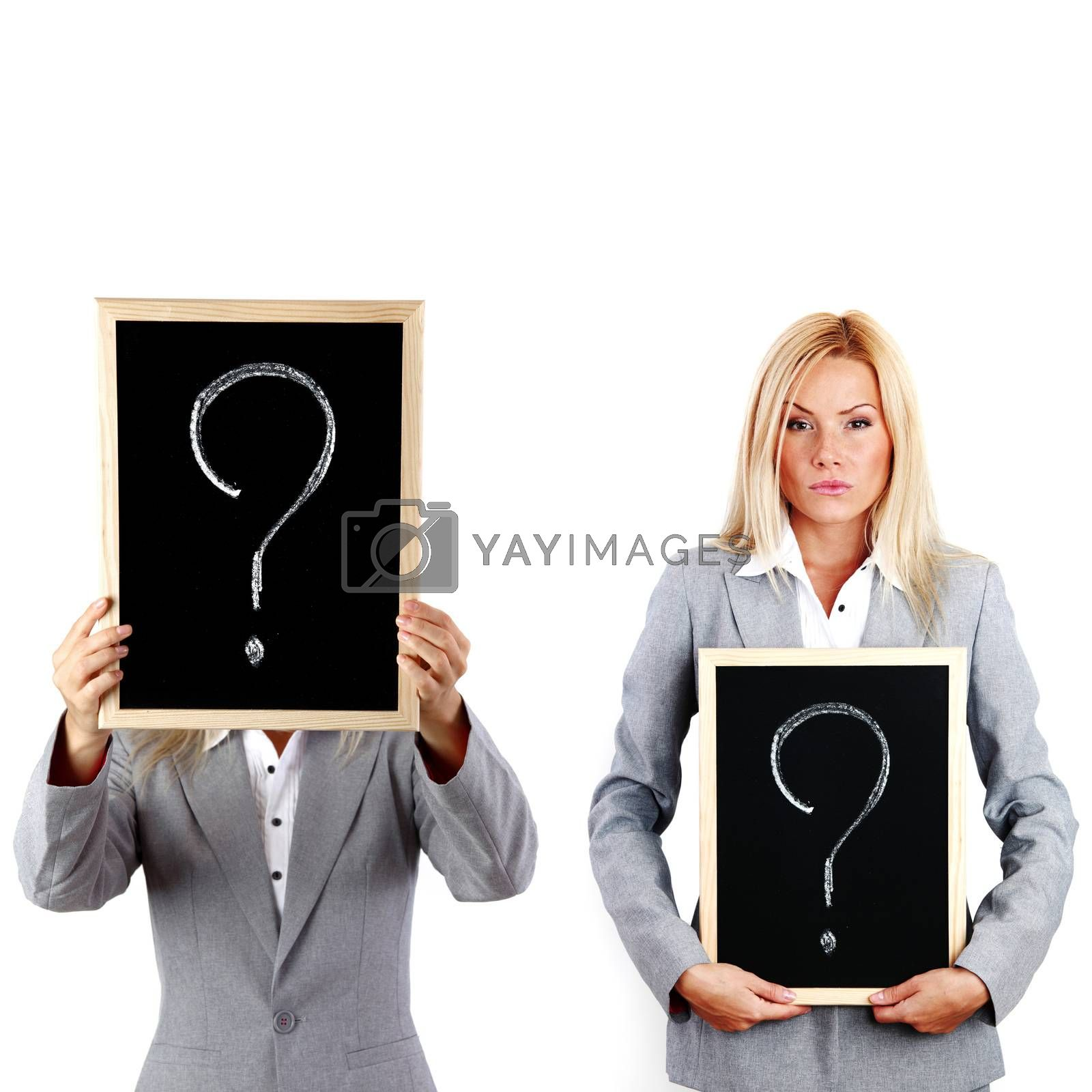 Young business woman in suit hold question sign on blackboard in hands