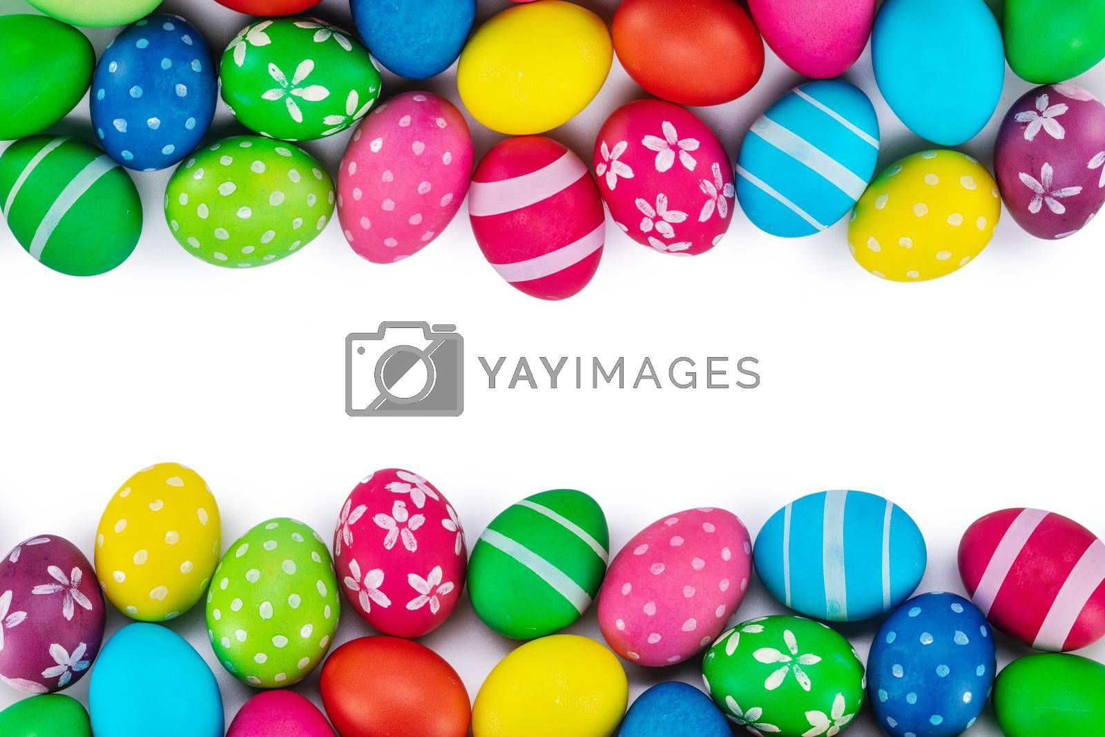 Colorful Easter egg top view border frame isolated on white background