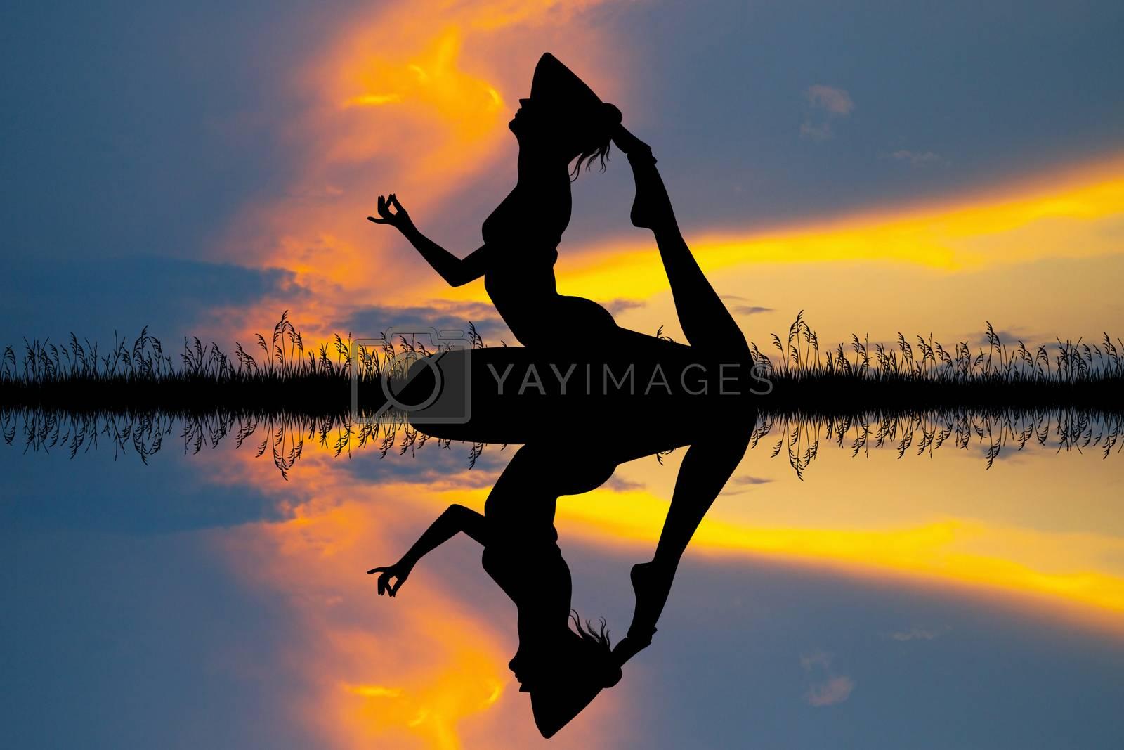 illustration of girl doing yoga on river silhouette at sunset