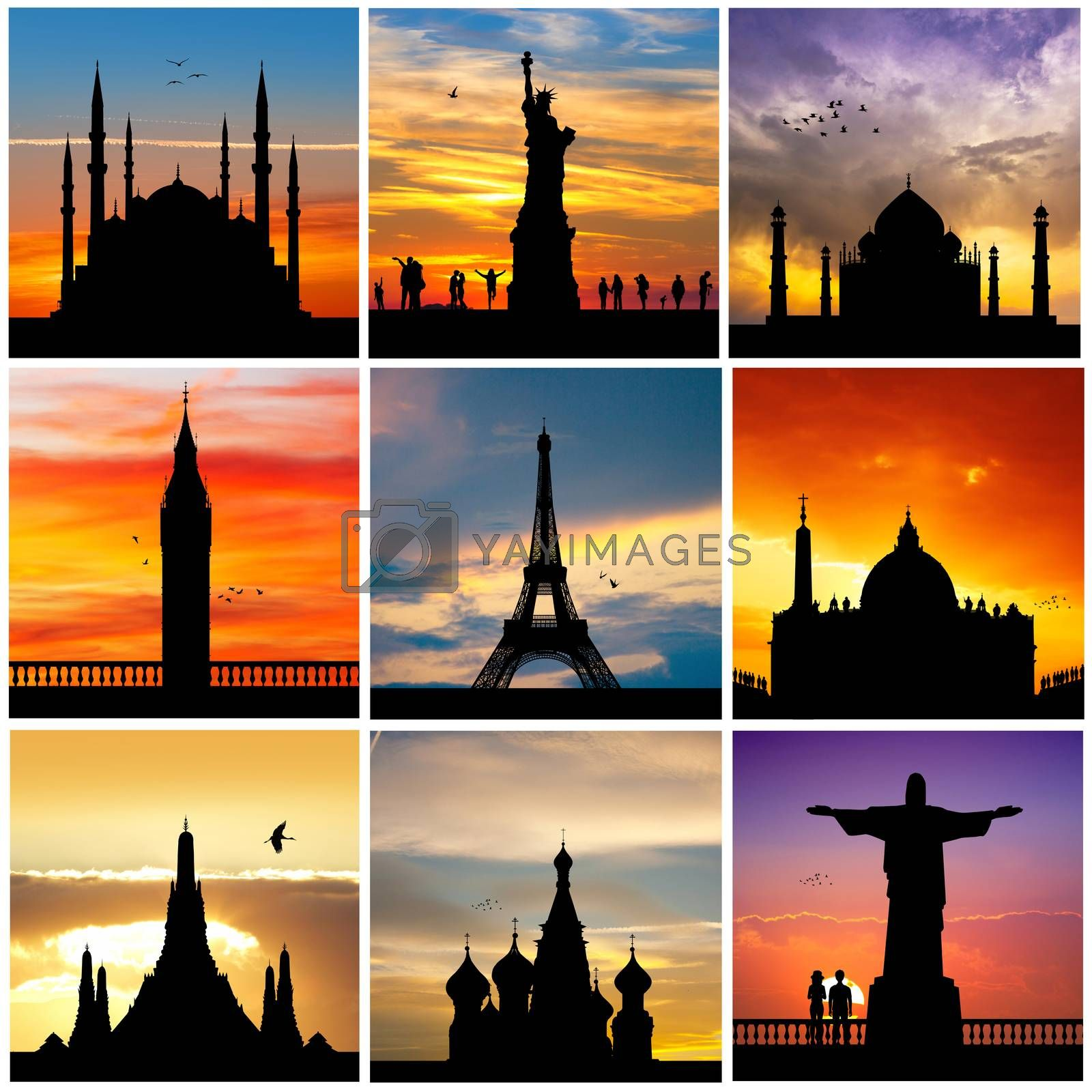 silhouette of travel destinations