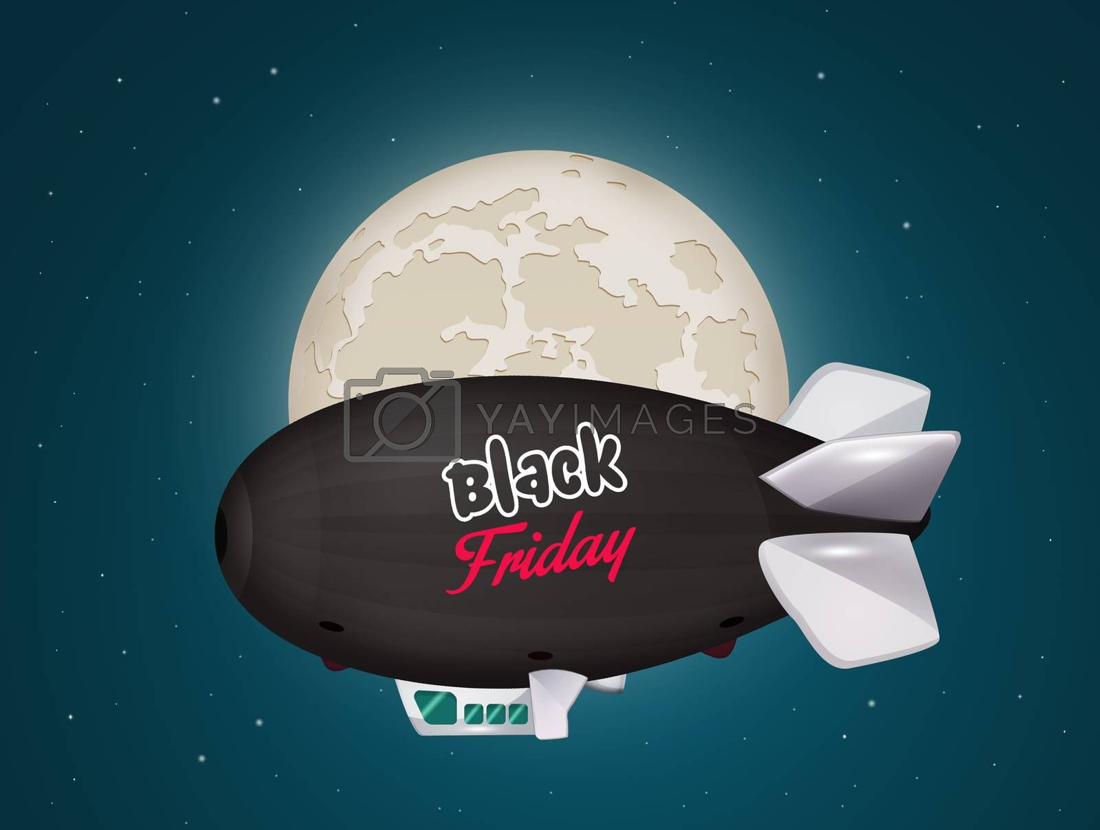 illustration of black friday airship