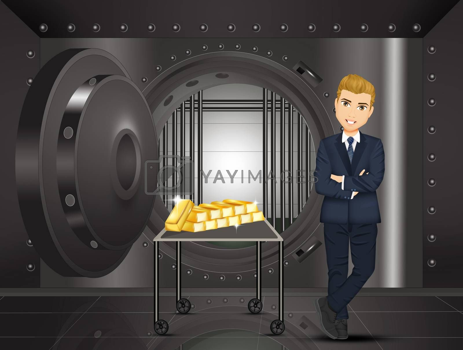 illustration of man with gold bars in the bank vault