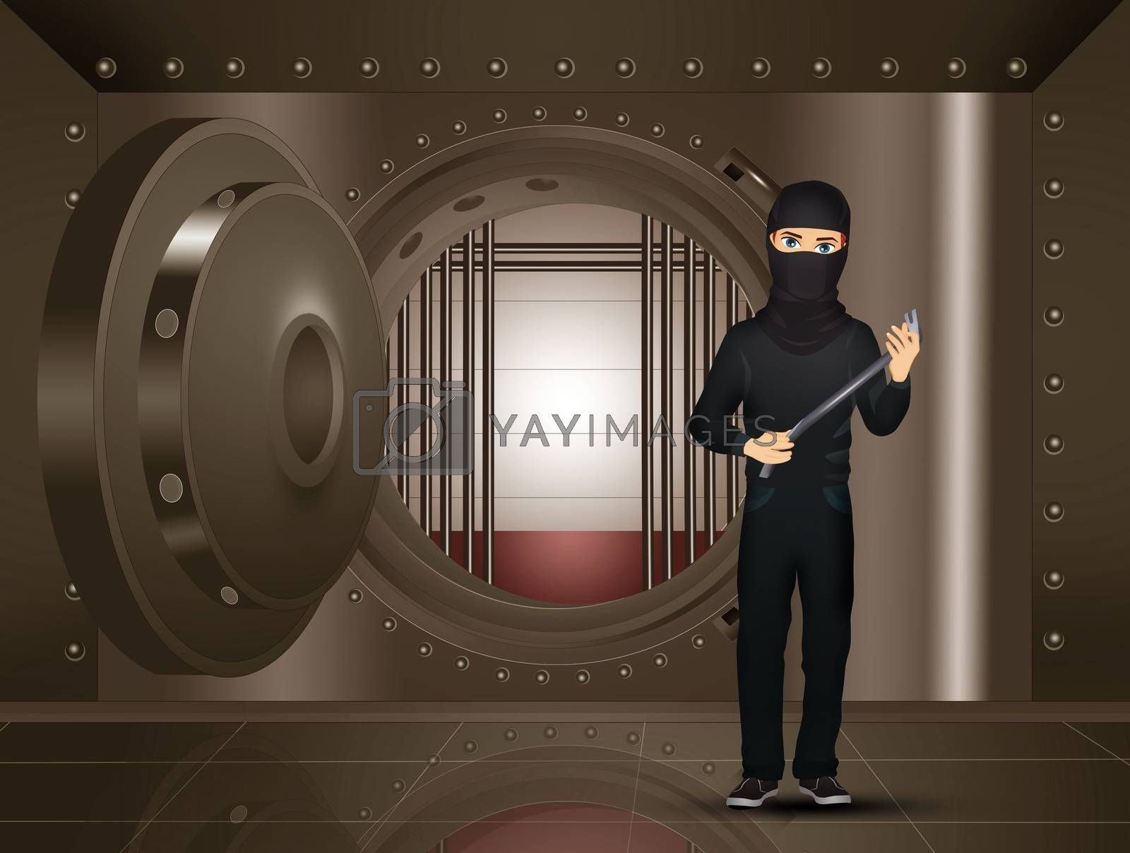illustration of thief in the bank's bunker