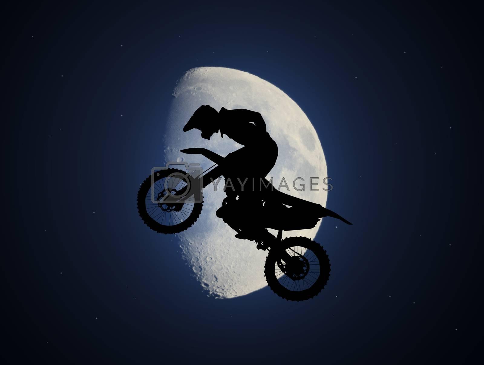 illustration of freestyle motorcross in the moonlight