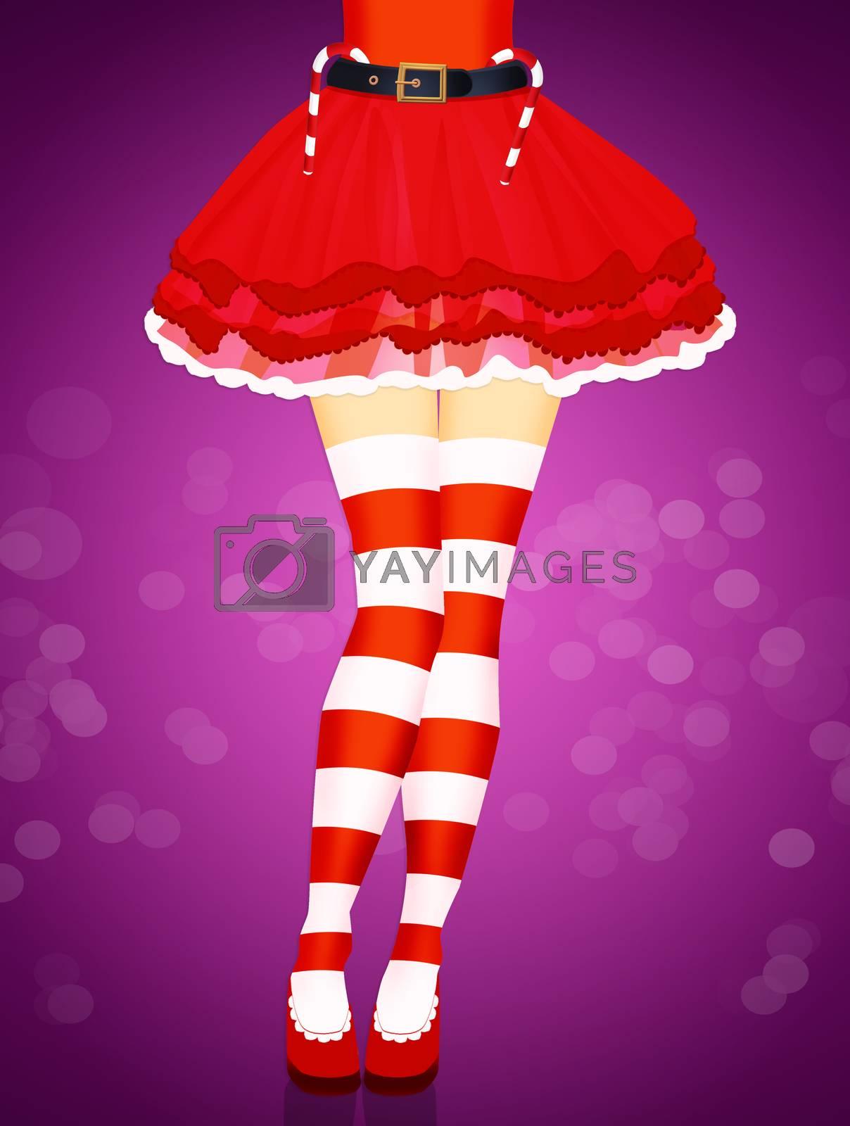 illustration of woman legs color red socks Christmas