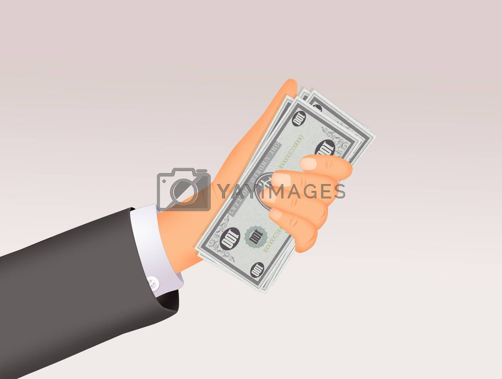 illustration of man's hand with money