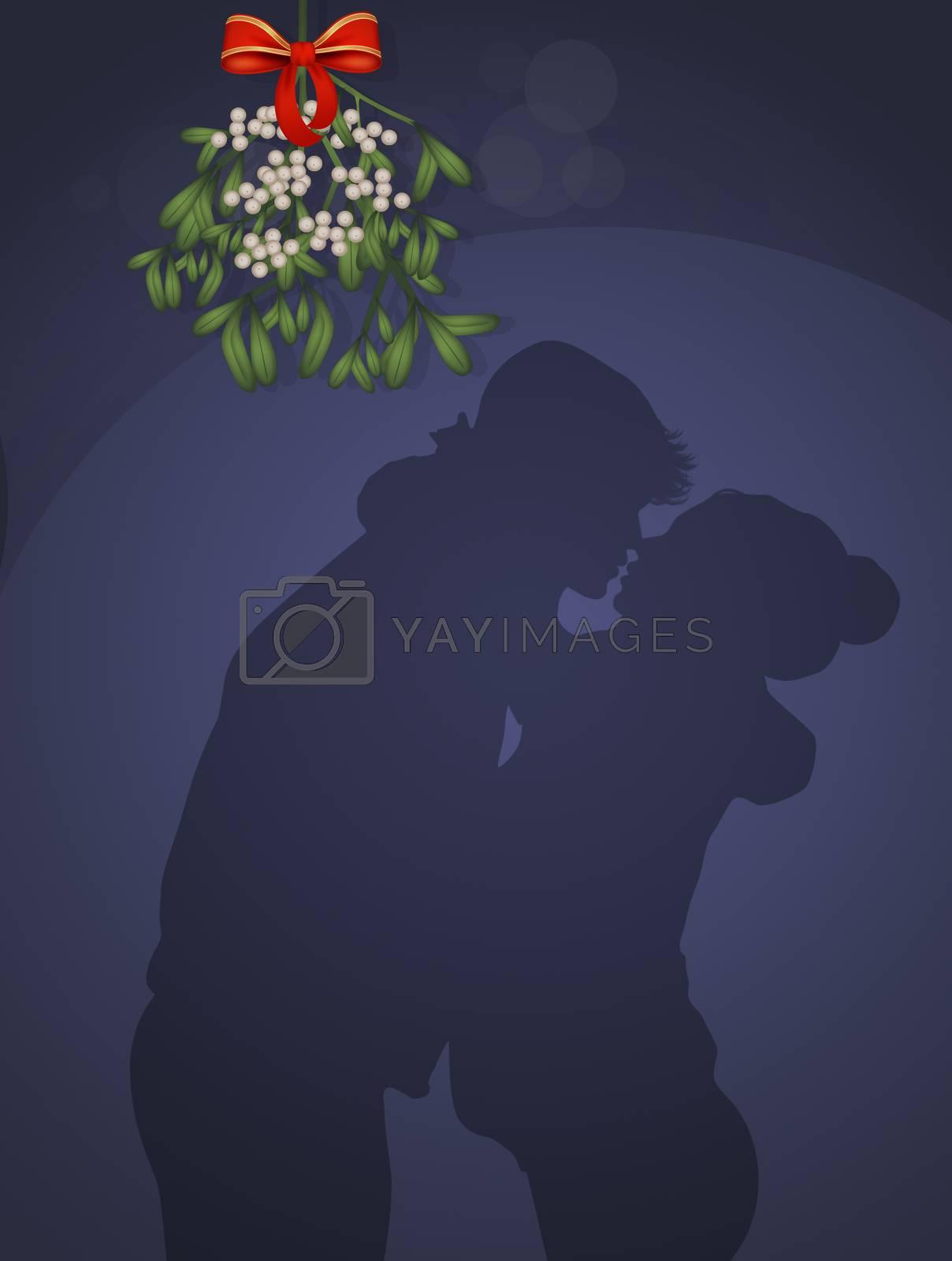 illustration of couple kissing under the mistletoe