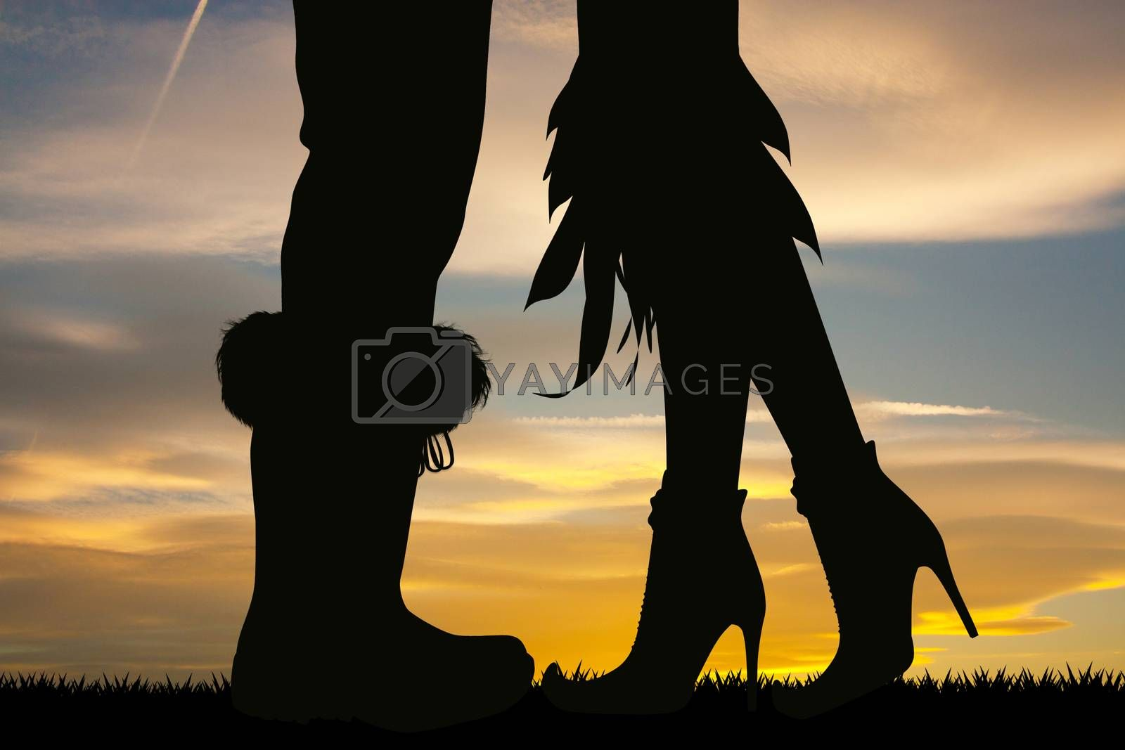 illustration of silhouette of witches and Santa's legs
