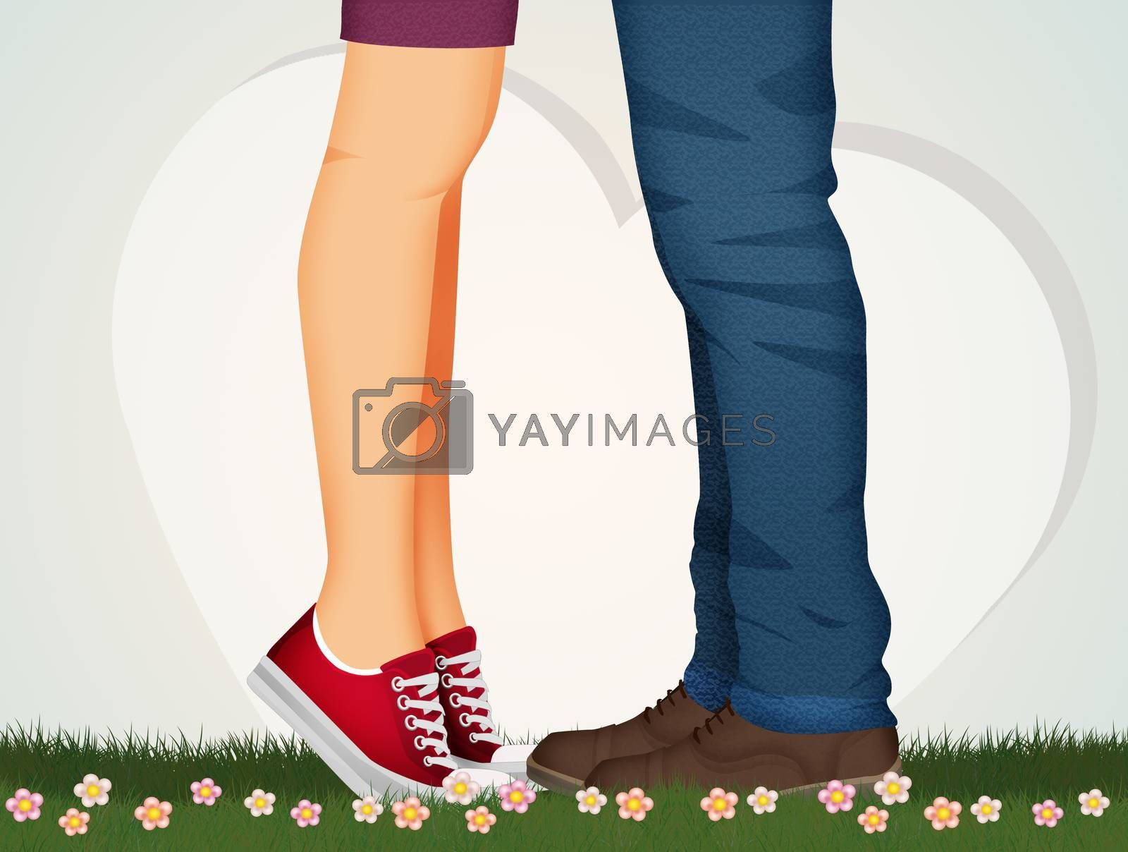 illustration of kissing man and woman legs