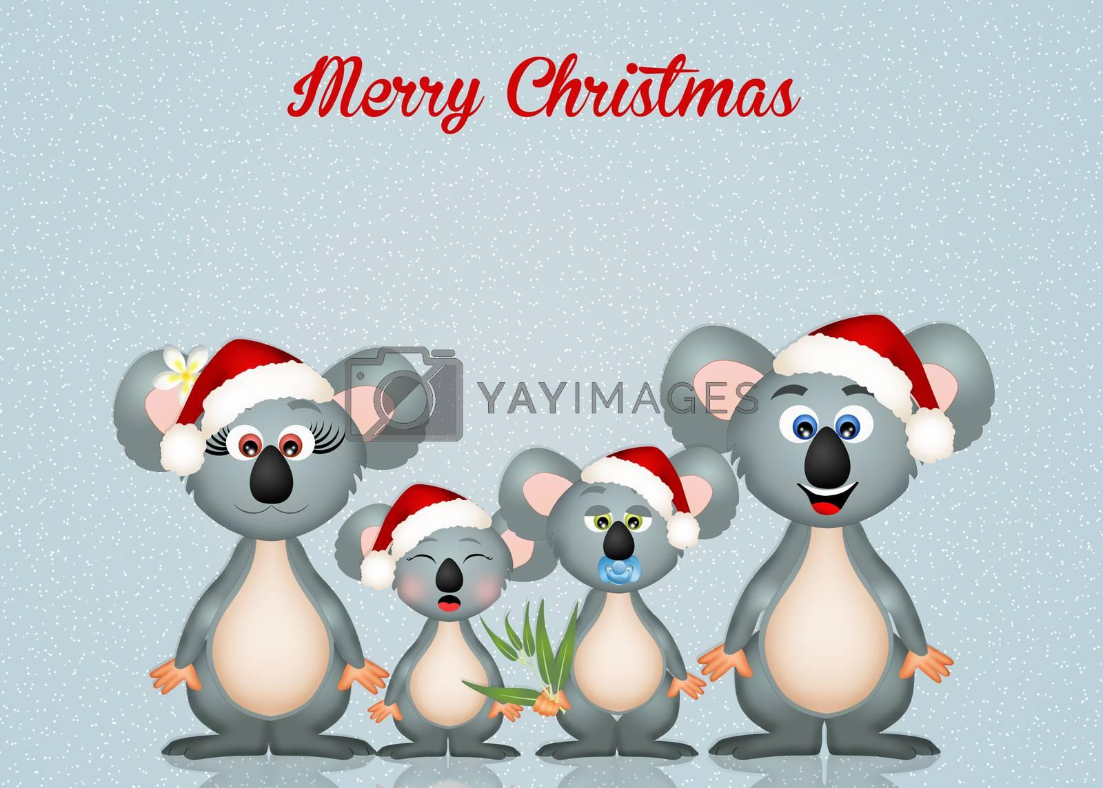 illustration of koalas at Christmas