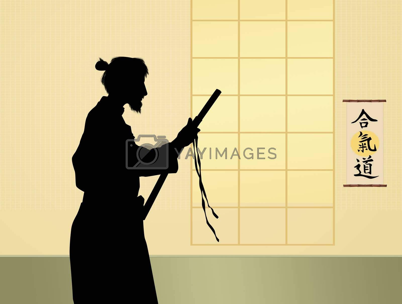 illustration of man holding a samurai sword