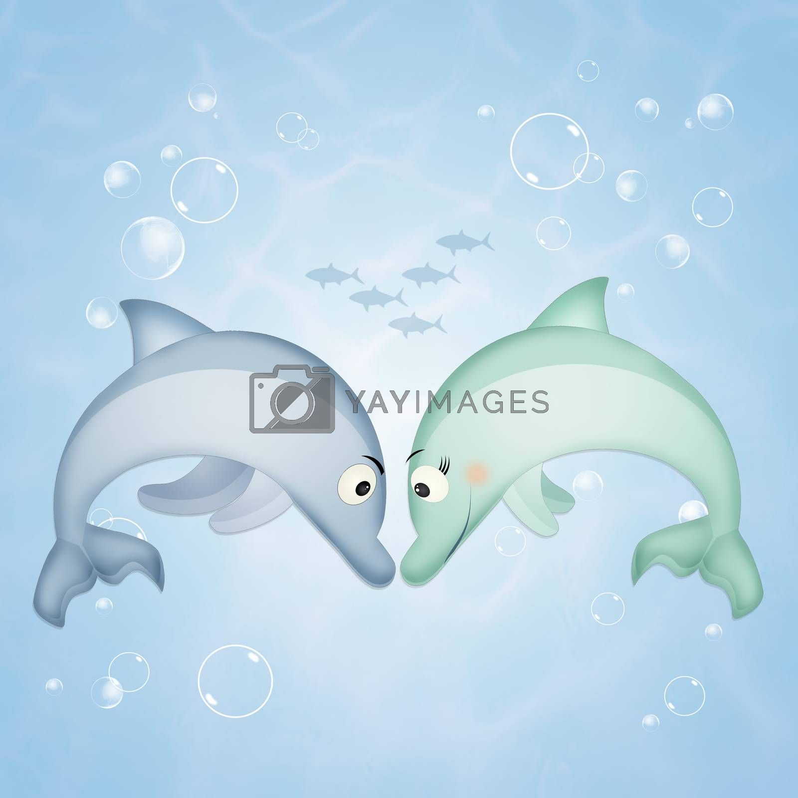 illustration of dolphins in the ocean