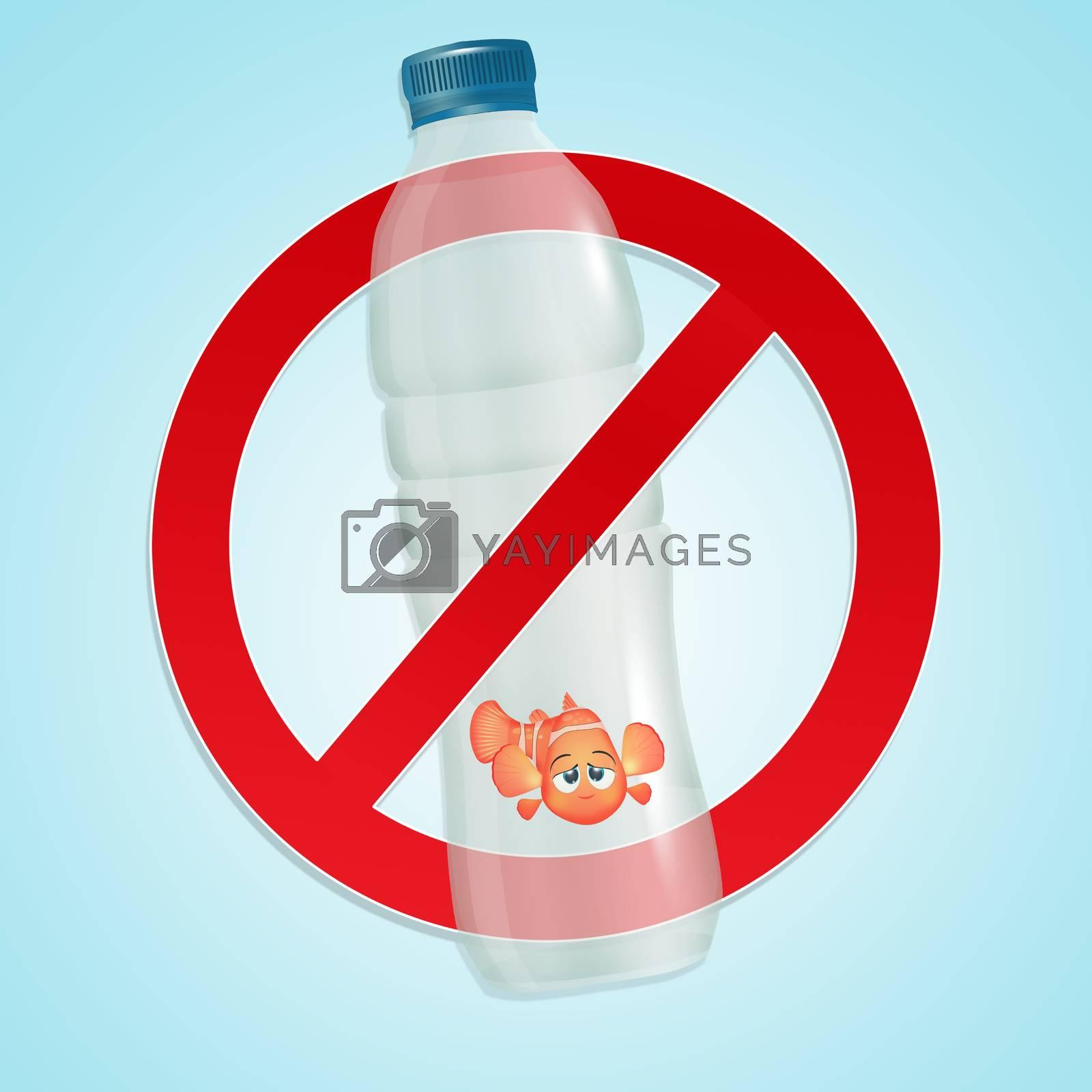illustration of little goldfish trapped in the plastic bottle