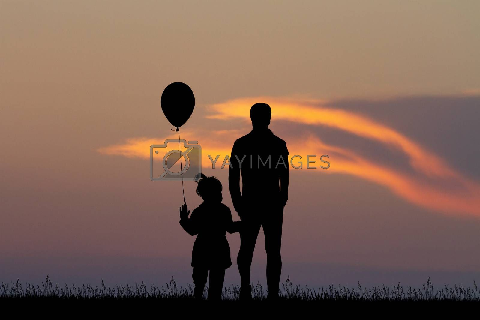 illustration of man with child at sunset