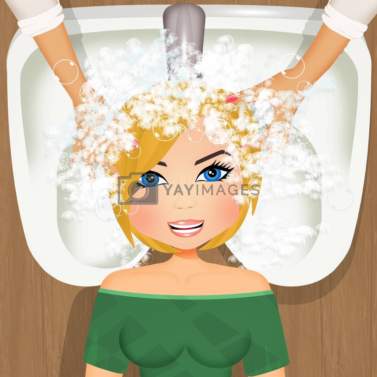 illustration of woman washing her hair at the hairdresser