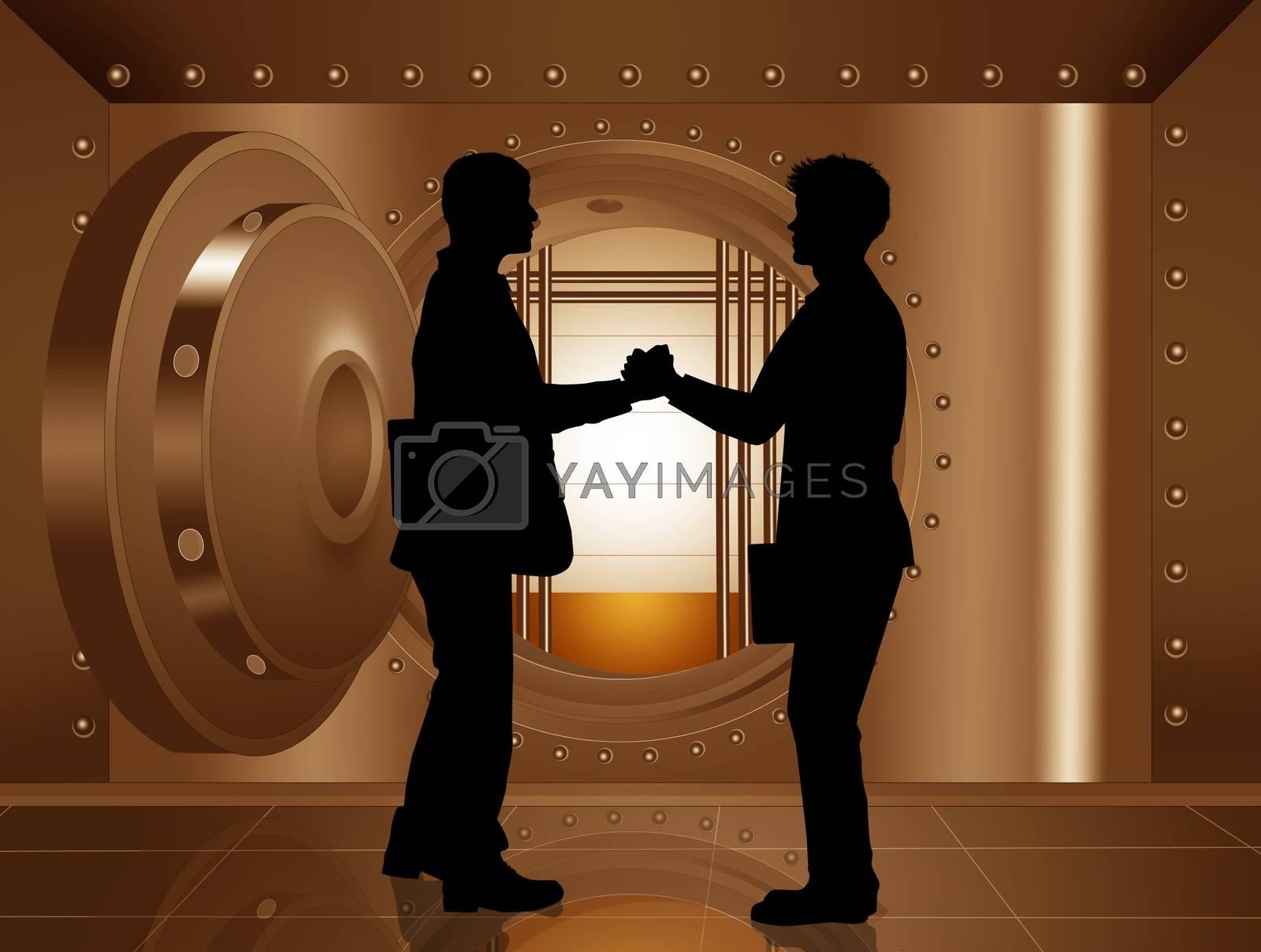 illustration of businessmen in the bank security safe