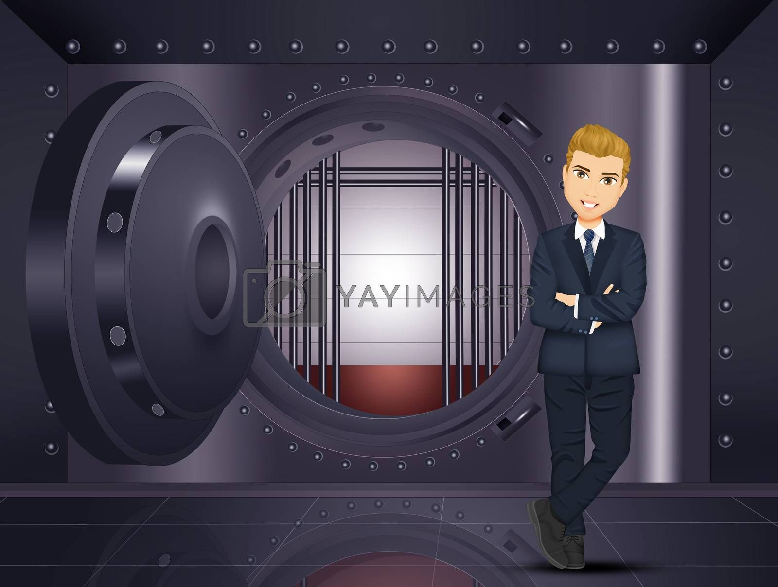 illustration of man in the bank vault
