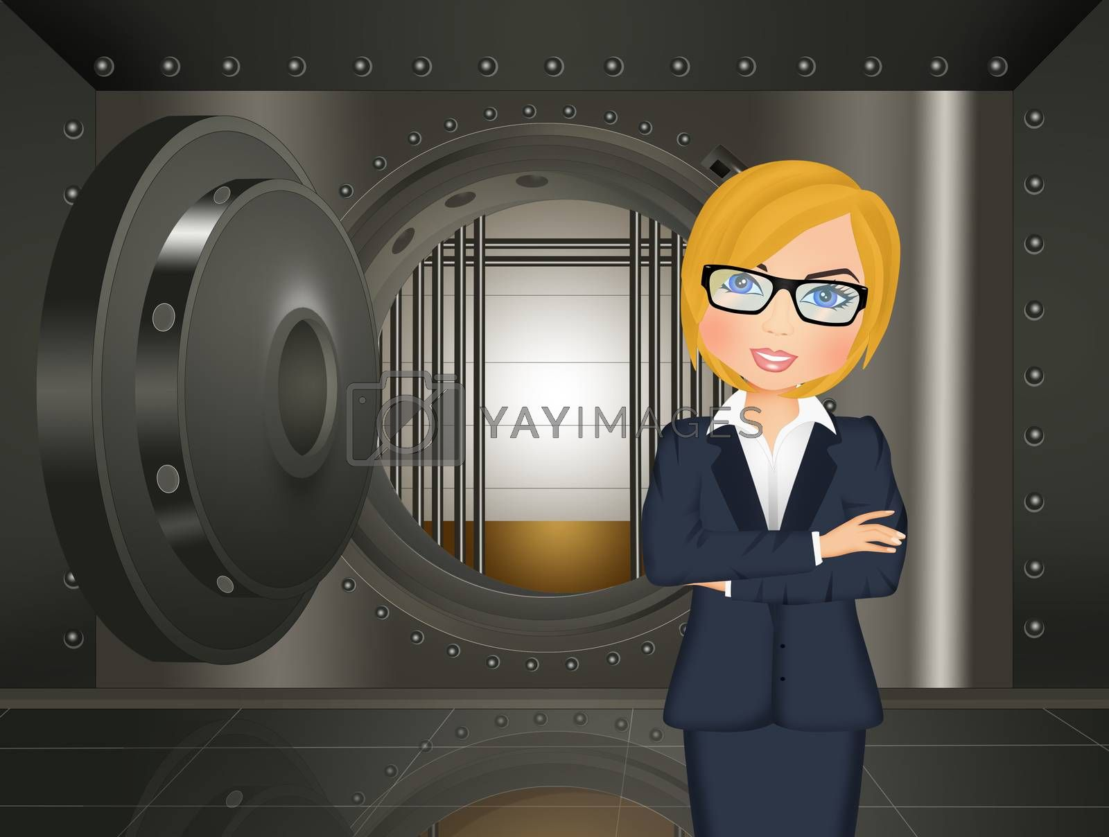 illustration of woman in the bank vault