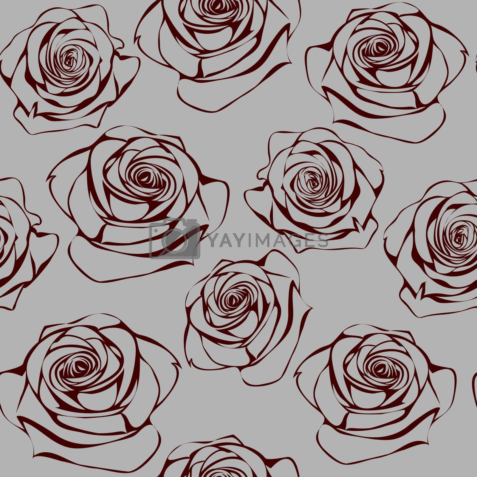 Seamless pattern with hand drawn dark red roses on grey background